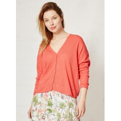 Cardigan chanvre rouge orangé coloré