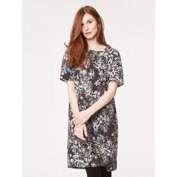 Natural flower lyocell dress with flowers