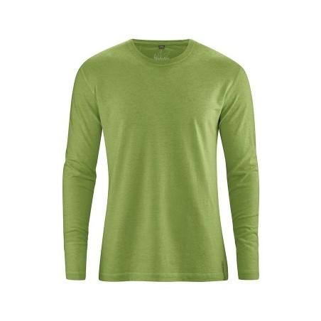 T-shirt vert en chanvre Homme manches longues