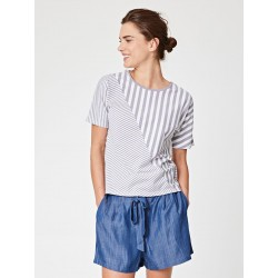T-shirt en chanvre et coton bio rayé gris taupe