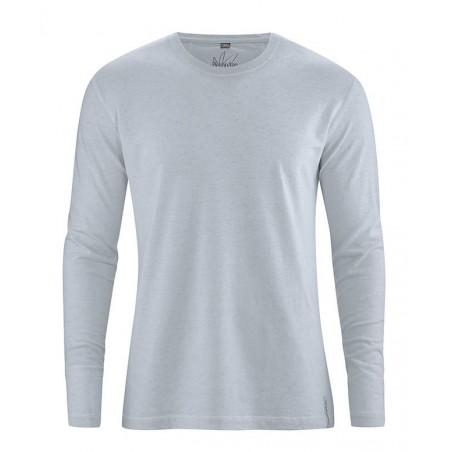 T-shirt en chanvre bleu Homme manches longues bleu fumée