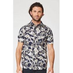 Chemise en chanvre pour Homme à manches courtes imprimé floral