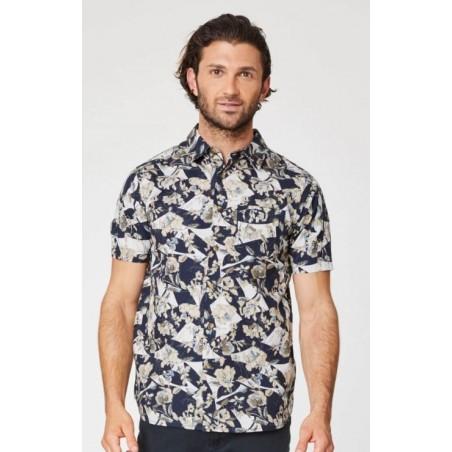 hemp mens floral short sleeve shirt
