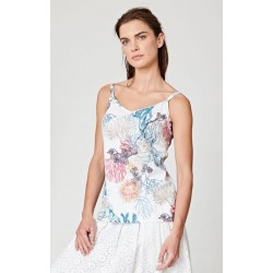 Top detailed coral print tencel and organic cotton