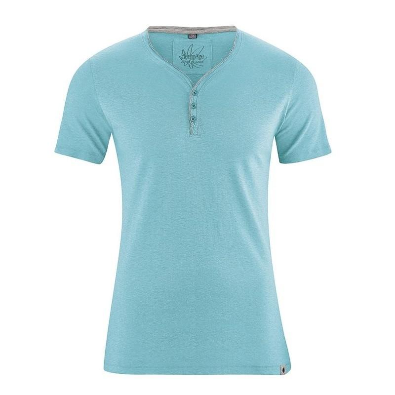 T-shirt turquoise en chanvre Homme - HempAge