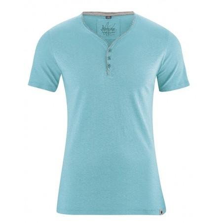 T-shirt en chanvre Homme turquoise manches courtes