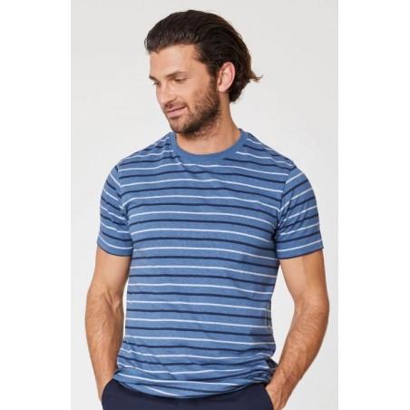T-shirt en chanvre et coton bio bleu homme à rayures