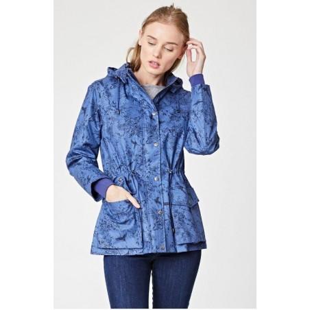 Imperméable bleu en coton bio court femme