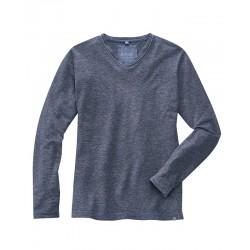 t-shirt bleu en chanvre manches longues