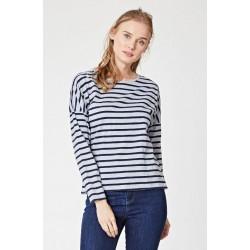 T-shirt en coton bio femme rayé