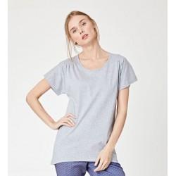 T-shirt gris Haut femme en coton bio blanc