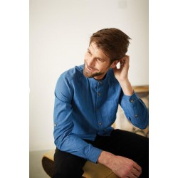 Blue organic cotton grandad collar shirt