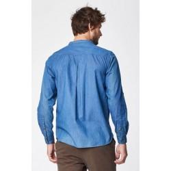 Chemise col Mao 100% coton bio bleu jean
