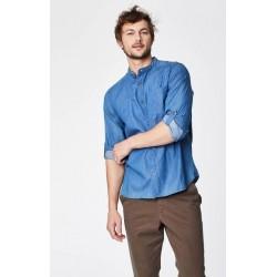 Blue organic cotton grandad collar shirt