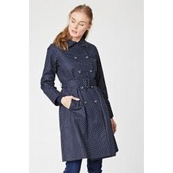 Manteau Imperméable bleu marine à pois