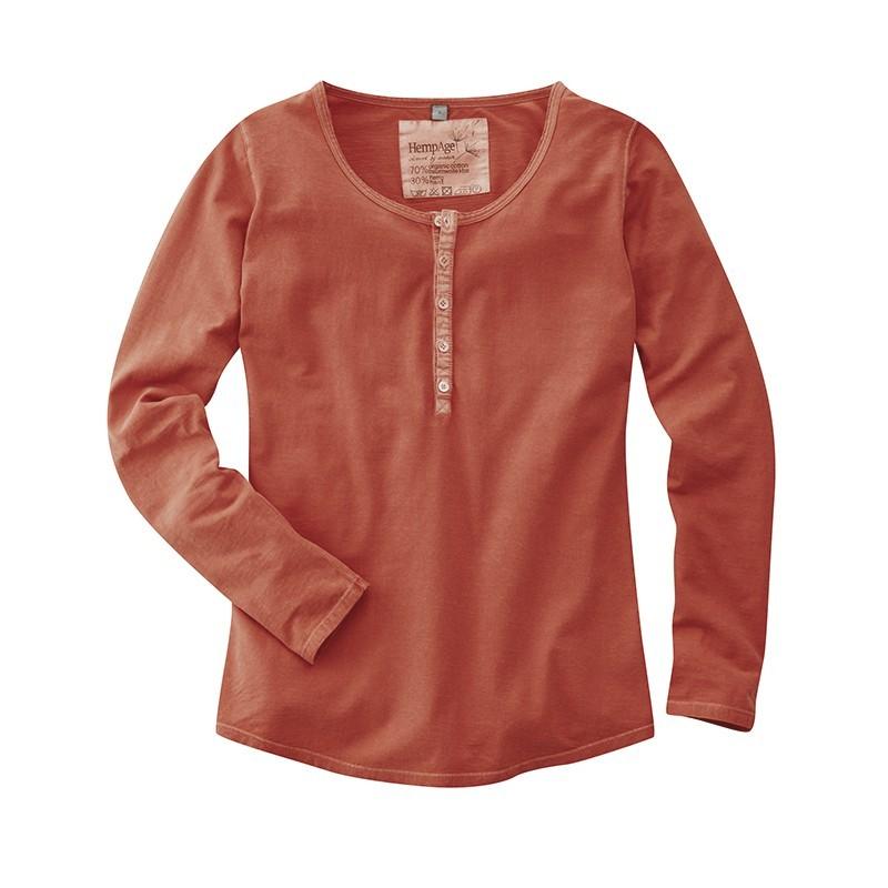 T-shirt manches longues en chanvre femme bleu ou rouge