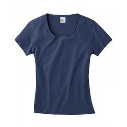 T-shirt manches courtes en chanvre femme bleu
