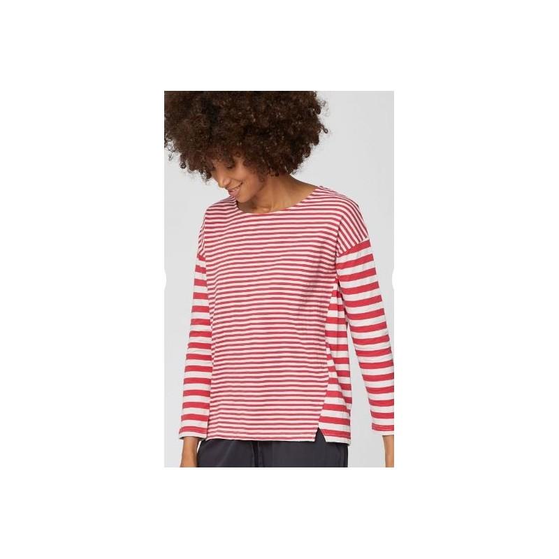 T-shirt en coton flammé bio femme rayé
