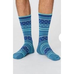 Chaussettes Homme en bambou et coton bio rayées bleues