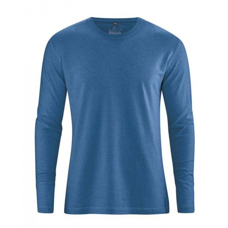 t-shirt bleu sarcelle en chanvre manches longues