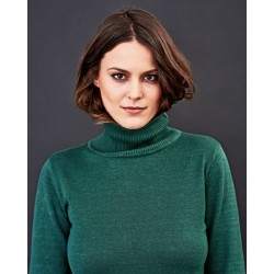knitted turtleneck pullover for woman: 2 colors