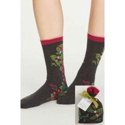 Chaussettes bio femme bambou fleurs cadeau