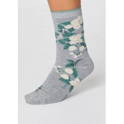 Grey socks feature an exclusively designed print