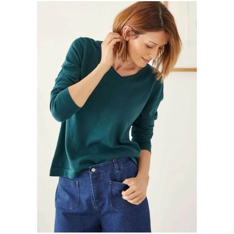 Pull en laine et coton bio bleu