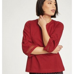 Top Haut femme en coton bio rouge