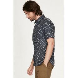 Chemise 100% chanvre à pois manches courtes