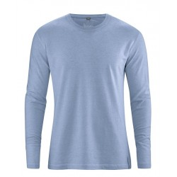 Black or blue hemp t-shirt Man long sleeves