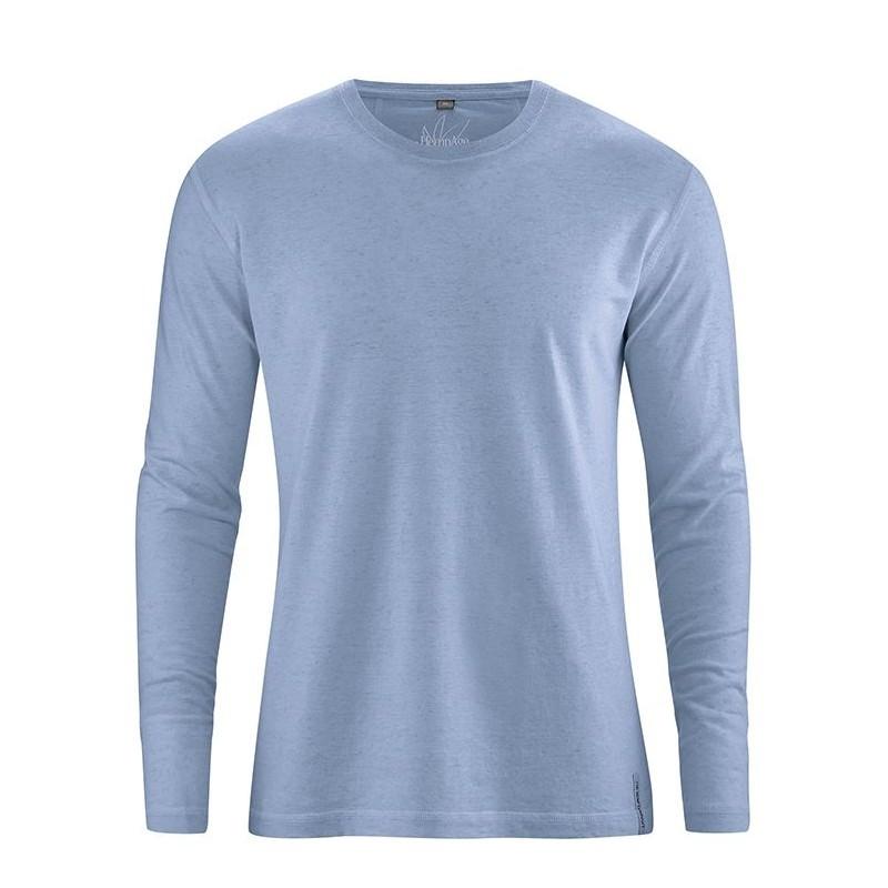 Black or blue hemp t-shirt Man long sleeves