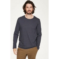 Men hemp t-shirt with stripes crew neck