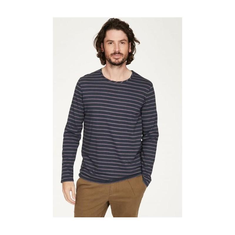Men hemp t-shirt with stripes crew neck