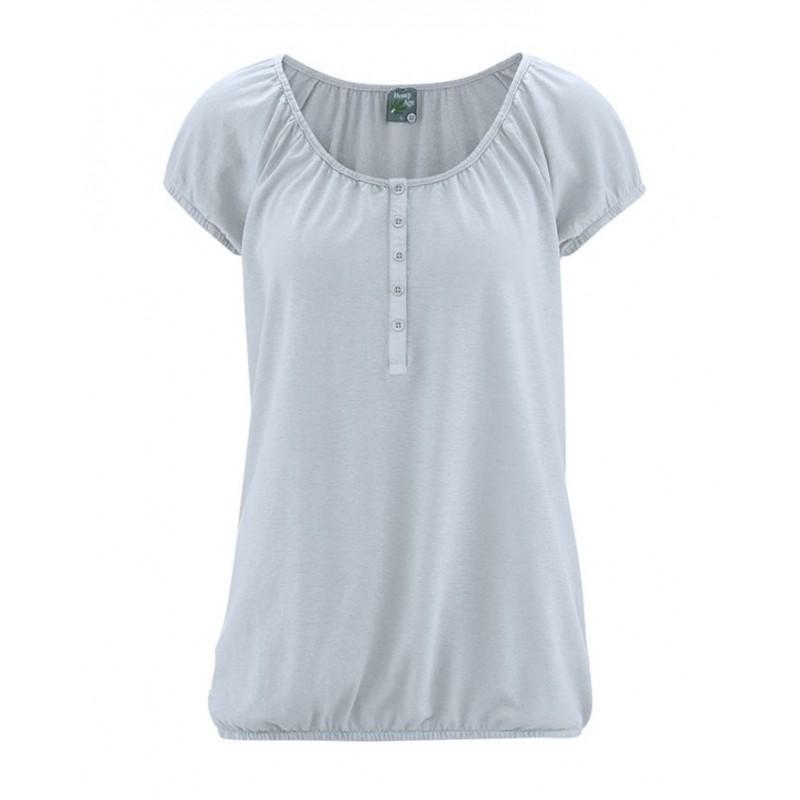 T-shirt en chanvre gris clair à manches élastiques