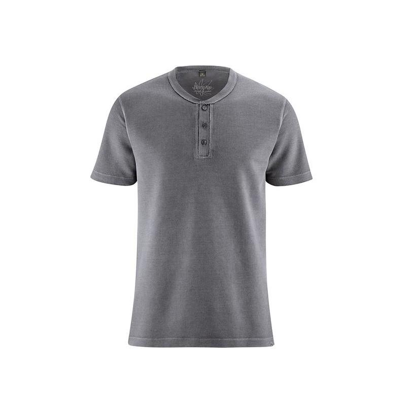 T-shirt en chanvre Homme col boutonné