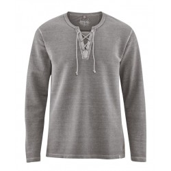 Hemp Taupe longsleeve with lace-up neckline