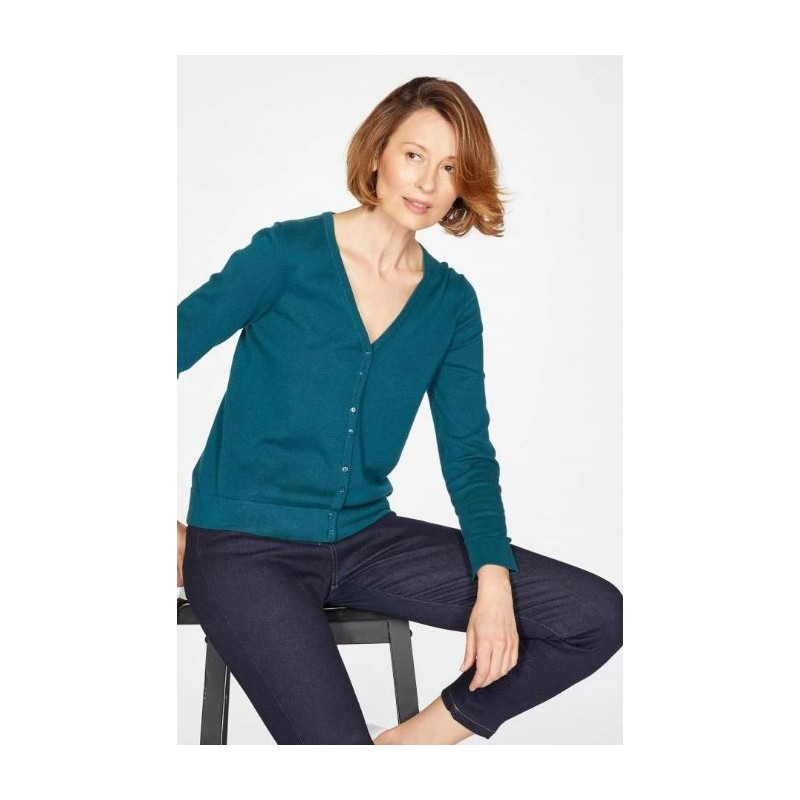 Organic Cotton V Neck Basic Cardigan : blue, amber or red