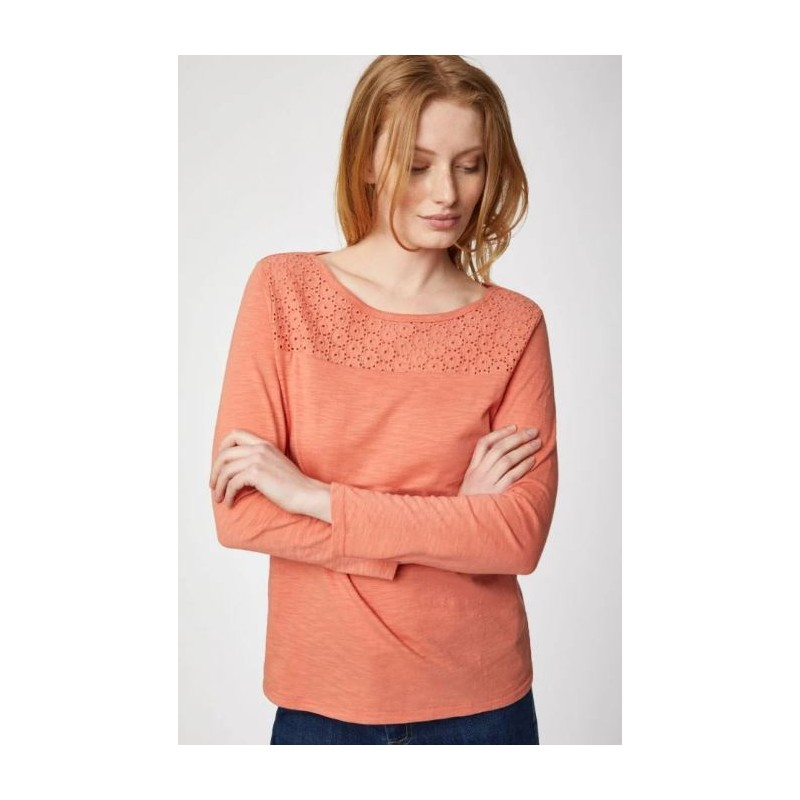 Organic Cotton Jersey Top In Coral