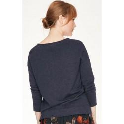 Pull en coton bio et laine pour femme bleu nuit uni