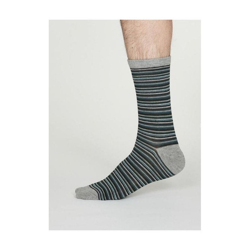 Grey striped socks in bamboo and organic cotton