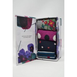 "4 Pack ""floral"" Bamboo Sock Gift Box"