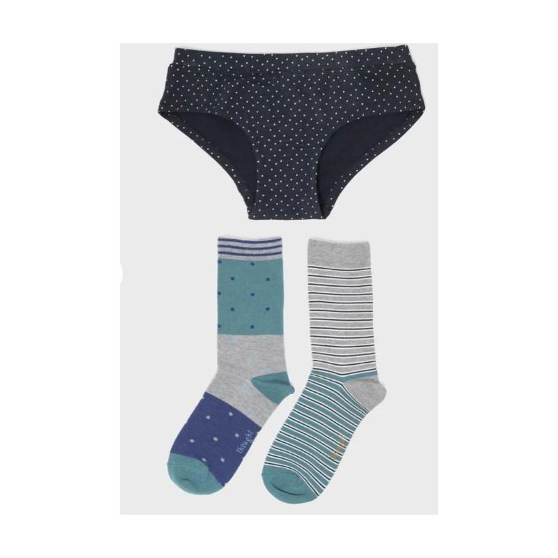 Coffret 2 paires de chaussettes en bambou + 1 culotte