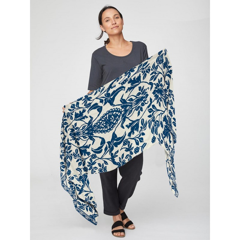 Blue bamboo printed scarf