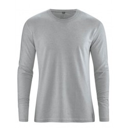 Grey hemp t-shirt Man long sleeves