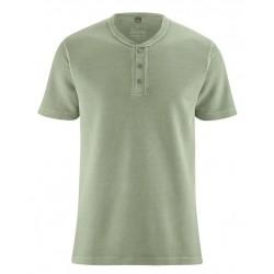 T-shirt en chanvre épais col boutonné bleu ciel ou vert