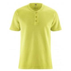 T-shirt en chanvre épais col boutonné vert pomme