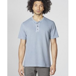 Taupe t-shirt with button tape in pique style