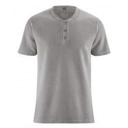 T-shirt en chanvre épais col boutonné taupe