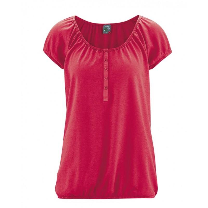T-shirt en chanvre manches courtes col rond femme